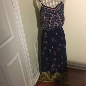 Multicolor sheer maxi dress with cutout in back